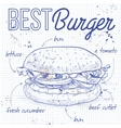 burger recipe on a notebook page vector image
