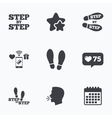 Step icons Footprint shoes symbols vector image