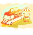 Coffee Shop Cafe In Mini Bus On Sunny Day With vector image