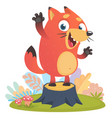 cartoon cool little fox standing and waving vector image