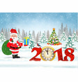 christmas card with clock vector image