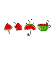 Cute watermelon design on white background vector image