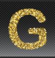 gold glittering letter g shining golden vector image