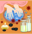 manicure hand care woman s manicured hands with vector image