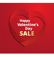 Red ribbon Heart Valentines Day greeting card vector image