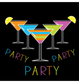 Set of five glasses with different cocktails party vector image
