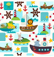 seamless pattern sea transports with animals vector image