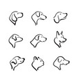 group of hand drawn dog head on white background vector image vector image