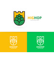 shield and hop logo combination beer vector image