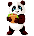 Panda eats hamburger vector image vector image
