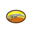 Greyhound Dog Jumping Side Oval Cartoon vector image vector image