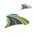 Icon of road among green fields vector image