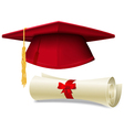 Graduation cap and diploma vector image