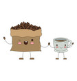 bag with beans and cup of coffee cartoon colorful vector image