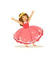 beautifull little girl princess in a coral red vector image