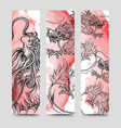 Bookmark set with chinese dragon vector image