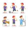 boy cartoons set happy childhood vector image