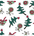 christmas pattern with christmas trees and gift vector image