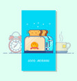 good morning cardtoaster colorful line icon vector image