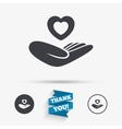 Life insurance sign Hand holds heart vector image