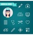 set of linear medical icons Ambulance vector image