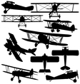 Silhouettes of old aeroplane - biplane vector image