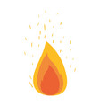 white background with flame and fire sparks vector image