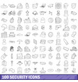 100 security icons set outline style vector image