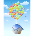 house with balloons flying in the blue sky vector image