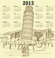leaning tower of pisa 2013 vintage calendar vector image vector image