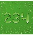 Water drop letters on green background 10 vector image vector image