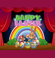 happy easter card template with bunny and eggs vector image