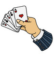 funny poker cards in hand vector image
