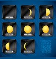 Moon phases icon set vector image