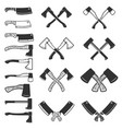 set of the axe icons isolated on white background vector image