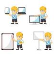 Blonde Rich Boy Customizable Mascot 20 vector image
