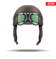 Retro aviator pilot helmet with goggles Isolated vector image