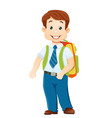 boy with bagpack vector image