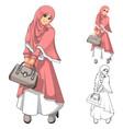 Muslim Woman Fashion Wearing Pink Veil or Scarf vector image