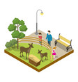 cage with deers isometric 3d icon vector image