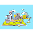 cartoon open book with modern city on blu vector image