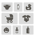 monochrome icons with baby stuff vector image