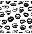 Seamless pattern with black sexy lips vector image