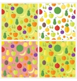 Set of seamless patterns with fruits and berries vector image