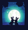 silhouette of night sky and bunny vector image