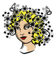 vintage woman with flowers vector image