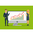 Business women and men present graphs on the in vector image