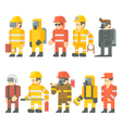 Flat design of rescue worker set vector image