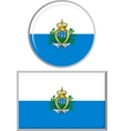 San Marino round and square icon flag vector image vector image