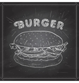 burger scetch on a black board vector image